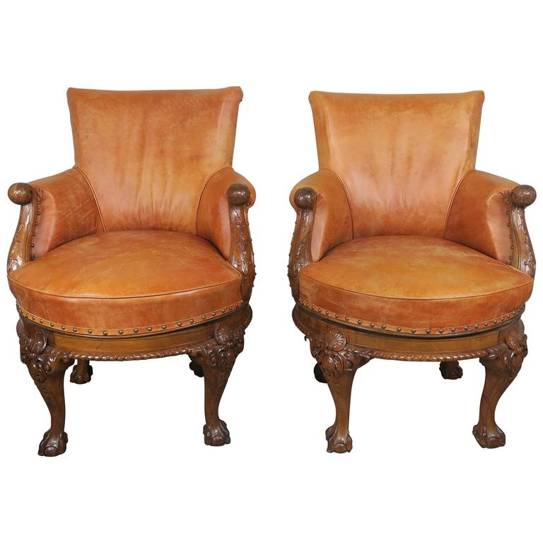 Pair of George II Style Walnut Swivel Library Chairs