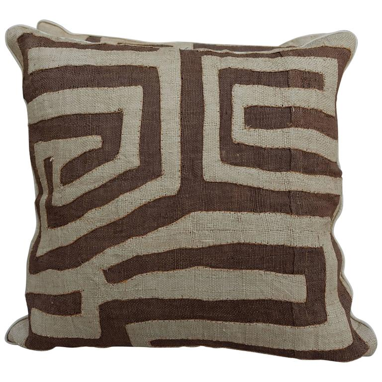Pair of African Kuba Cloth Pillows with Self Cording