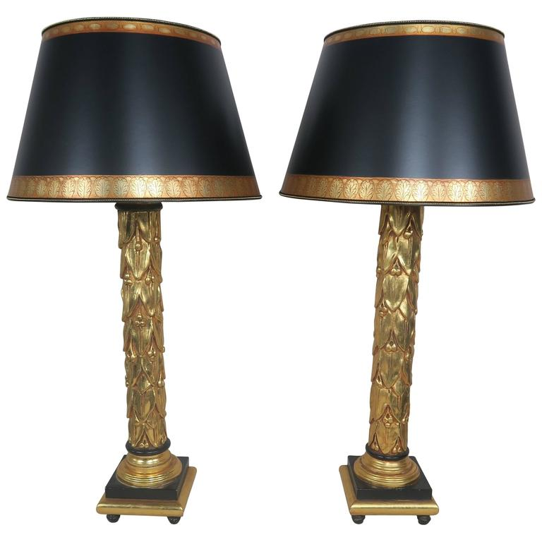 Neoclassical Style 22-Karat Gold Leaf and Black Lamps with Parchment Shades Pair