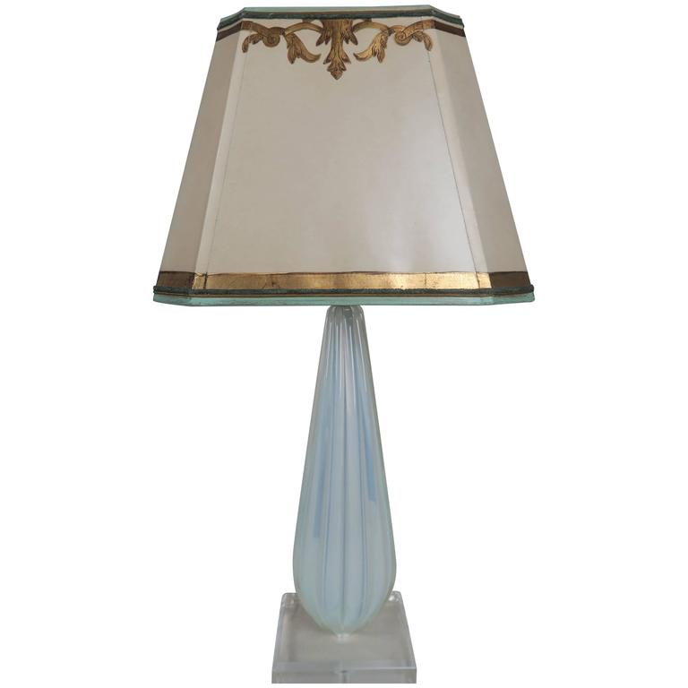 italian murano glass aqua blue lamp with custom parchment. Black Bedroom Furniture Sets. Home Design Ideas