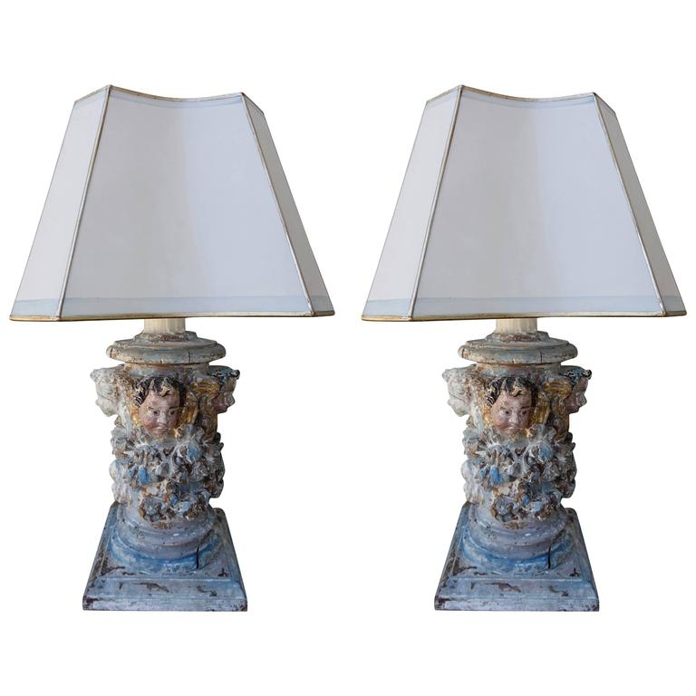 19th Century Carved Italian Painted Fragment Lamps