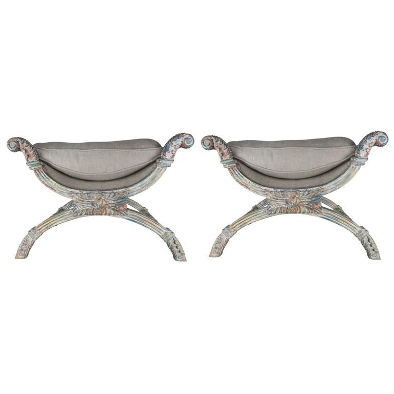 "French Painted ""X"" Benches with Linen Upholstery, Pair"