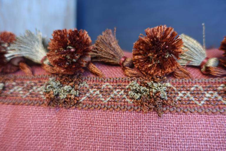 Pair of Metallic and Chenille Appliqued Linen Pillows by Melissa Levinson