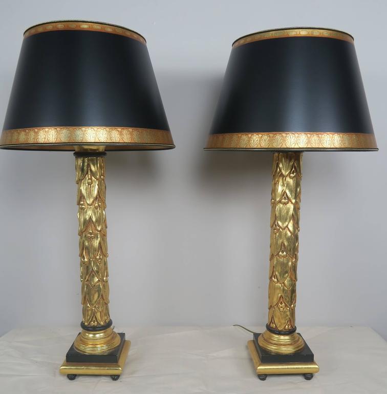 Neoclassical Style 22 Karat Gold Leaf And Black Lamps With Parchment Shades  Pair