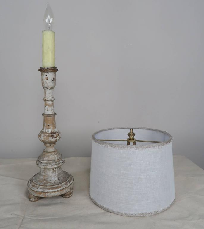 Italian Painted Candlestick Lamp with Custom Linen Shade