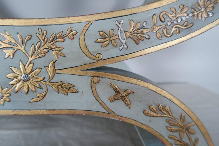 Chinoiserie Painted Benches with Lamb Skin Leather Upholstery