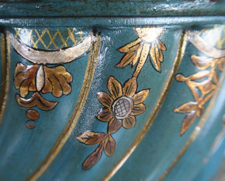 Teal and Gold Chinoiserie Painted Colored Lamps, Pair