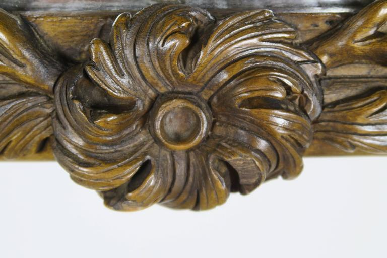 French Walnut Carved Wood Mirror with Flowers