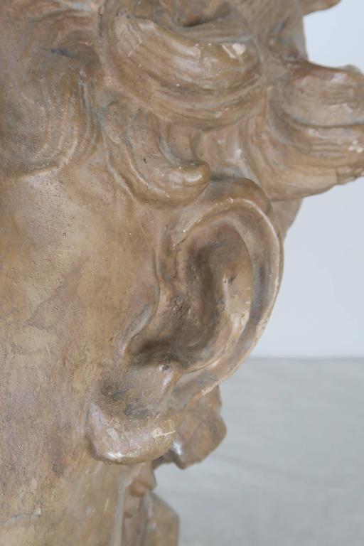 Terra Cotta Cherub Face on Steel Metal Base