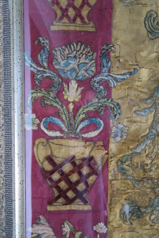 17th Century Italian Silk Framed Textile