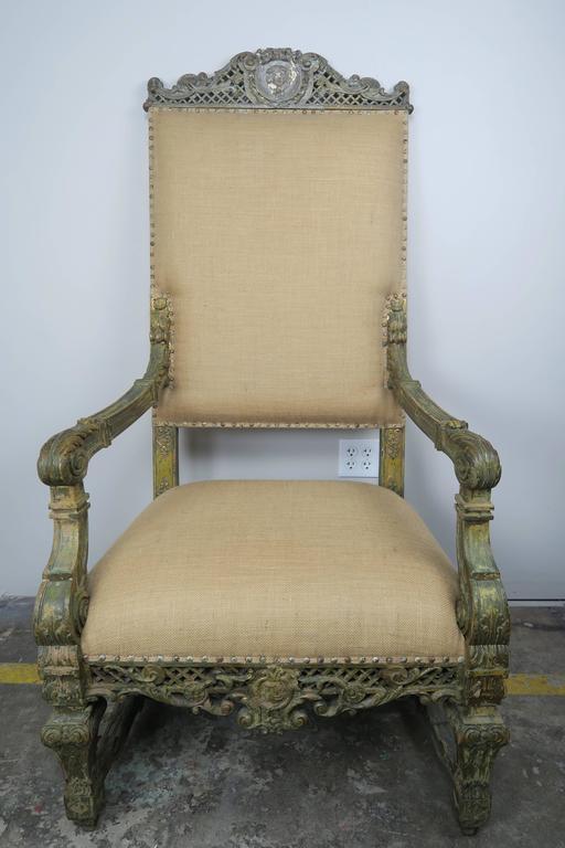 19th Century Monumental Italian Painted Armchair
