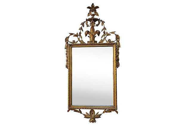 Italian Giltwood Mirror w: Fleur De Lys