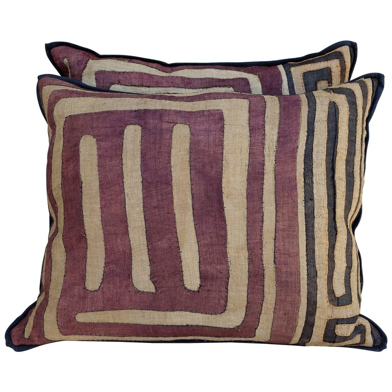 Pair of Large African Kuba Cloth Pillows