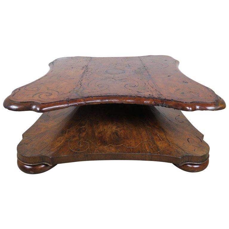 18th Century, Italian Inlaid Walnut Coffee Table