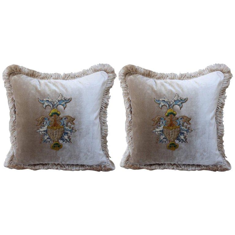 18th Century Urn Applique Silk Velvet Pillows, Pair