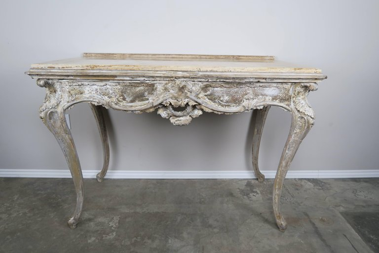 19th Century French Painted Console with Marble Top