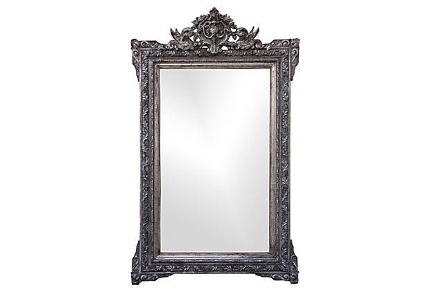 Italian Silverd Mirror with Griffins