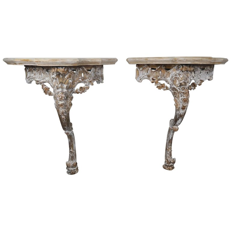 Pair of French Carved Painted Consoles