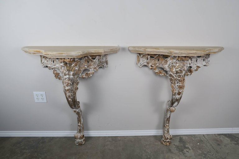 Pair of French Carved Painted Consoles6