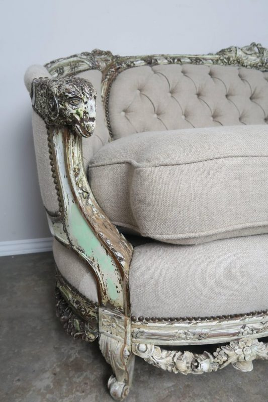 19th Century French Carved Rococo Style Sofa 2