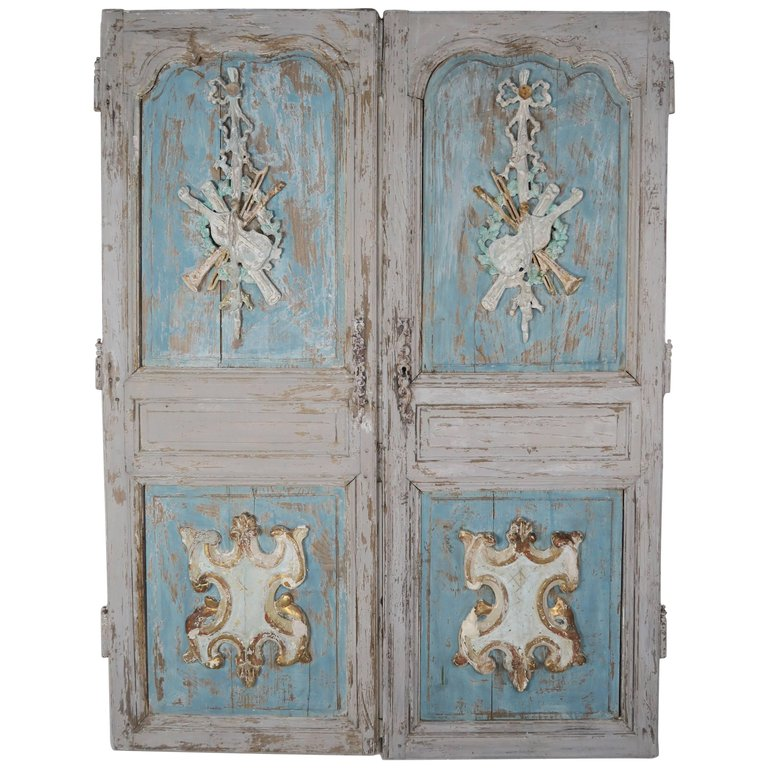 19th C. Pair Of French Painted Armoire Doors