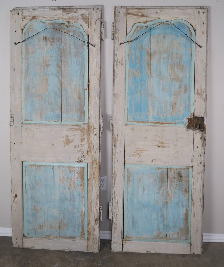19th Century Pair of French Painted Armoire Doors 10