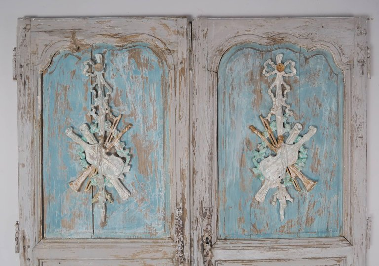 19th Century Pair of French Painted Armoire Doors 2