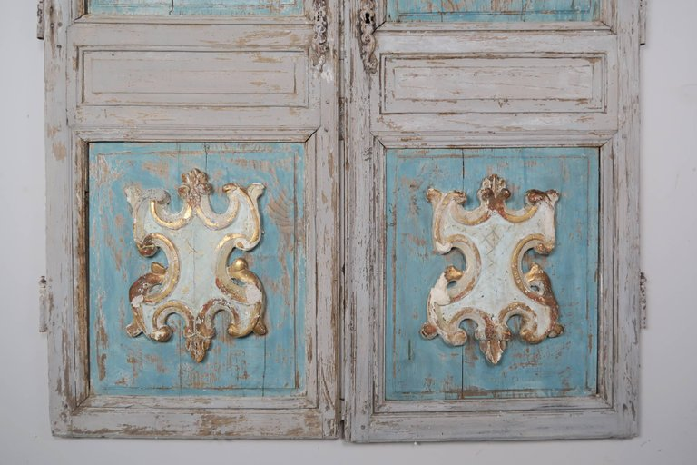 19th Century Pair of French Painted Armoire Doors 3