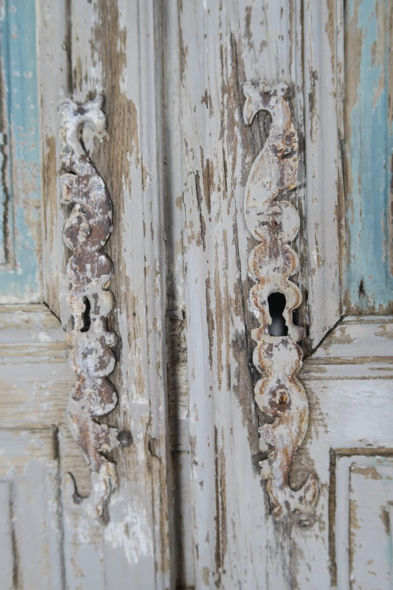 19th Century Pair of French Painted Armoire Doors 7