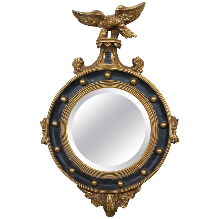 American Federal Style Painted and Parcel-Gilt Mirror with Eagle