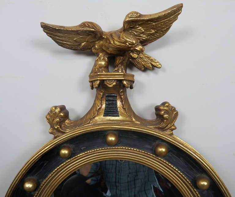 American Federal Style Painted and Parcel-Gilt Mirror with Eagle 3