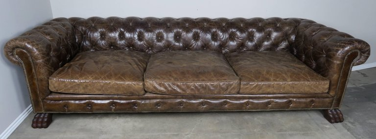 English Leather Tufted Chesterfield Style Sofa with Lion Paw Feet1