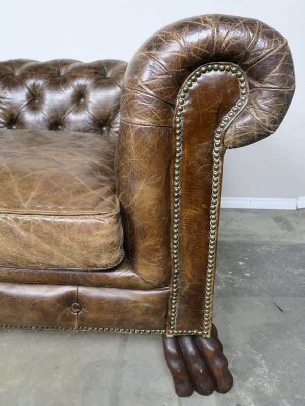 English Leather Tufted Chesterfield Style Sofa with Lion Paw Feet2