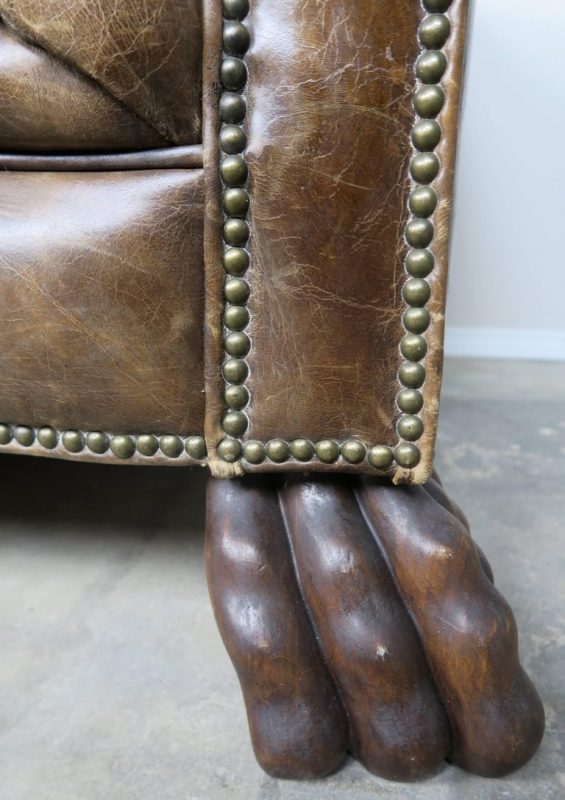 English Leather Tufted Chesterfield Style Sofa with Lion Paw Feet3