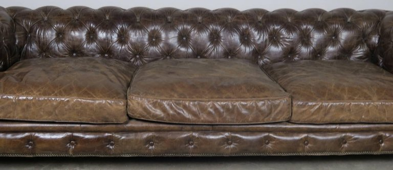 English Leather Tufted Chesterfield Style Sofa with Lion Paw Feet4