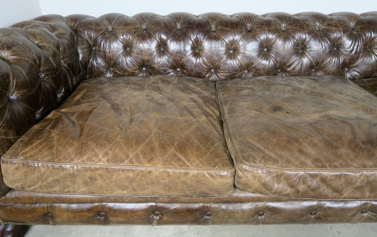 English Leather Tufted Chesterfield Style Sofa with Lion Paw Feet5