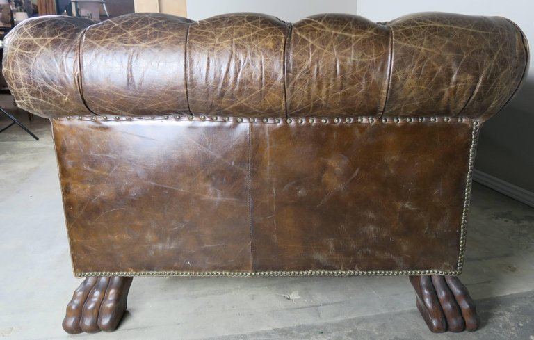 English Leather Tufted Chesterfield Style Sofa with Lion Paw Feet6