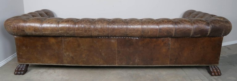 English Leather Tufted Chesterfield Style Sofa with Lion Paw Feet8