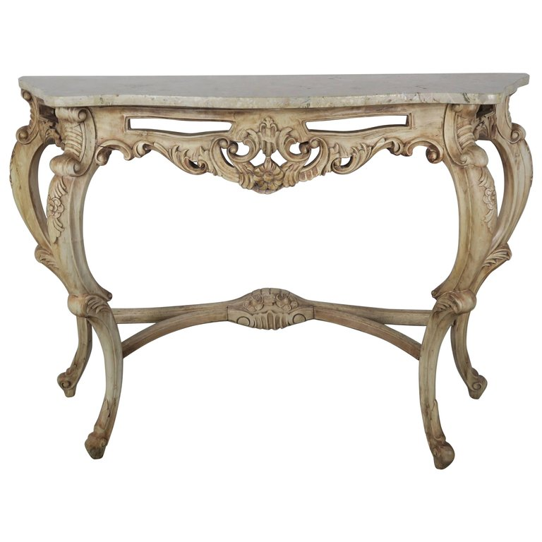 French Natural Carved Wood Console with Marble Top 1