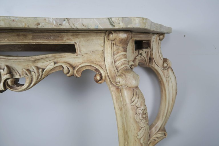 French Natural Carved Wood Console with Marble Top 3