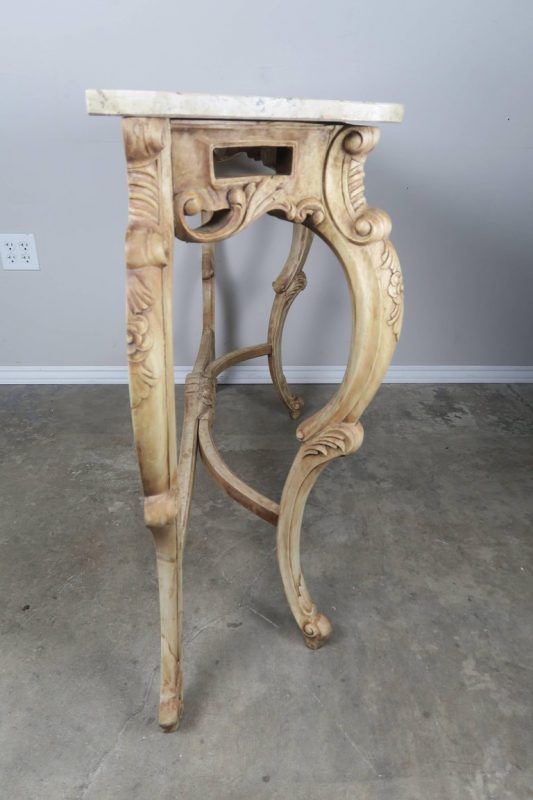 French Natural Carved Wood Console with Marble Top 4
