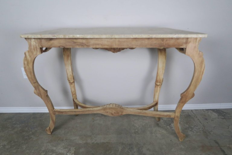 French Natural Carved Wood Console with Marble Top 5