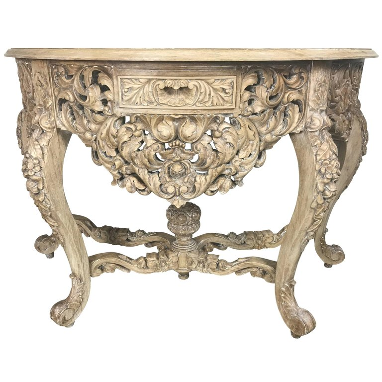 French Rococo Style Console With Centre Drawer, Circa 1900