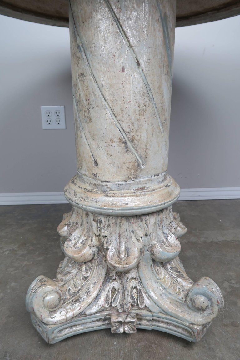 Italian Painted and Silver Gilt Column Tables with Mirrored Tops, Pair c