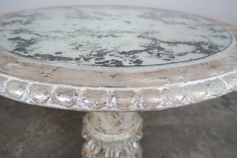 Italian Painted and Silver Gilt Column Tables with Mirrored Tops, Pair e