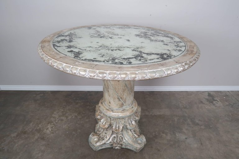 Italian Painted and Silver Gilt Column Tables with Mirrored Tops, Pair f