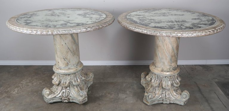 Italian Painted and Silver Gilt Column Tables with Mirrored Tops, Pair