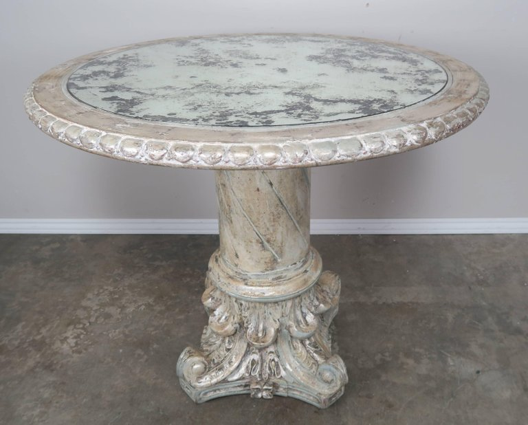 Italian Painted and Silver Gilt Column Tables with Mirrored Tops, Pairb