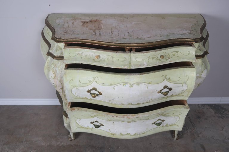 Pair of French Painted Bombay Commodes, circa 1930s 3