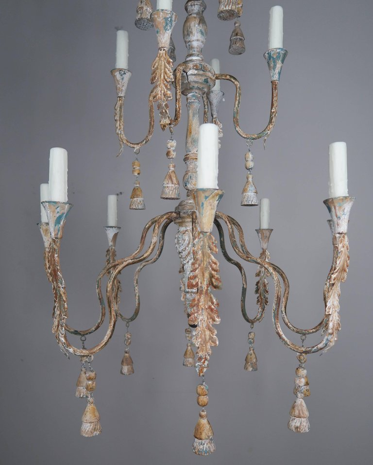 Pair of Italian Wood Beaded Painted Chandeliers1